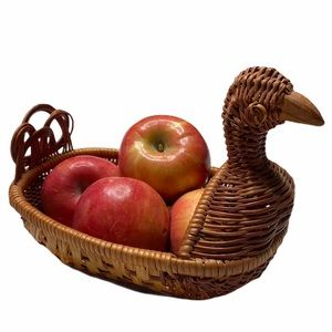 Vintage Bird Duck Brown Wicker Rattan Boho Basket